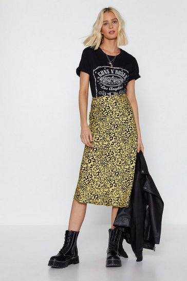 Womens Lime You've Cat Another Thing Coming Leopard Midi Skirt
