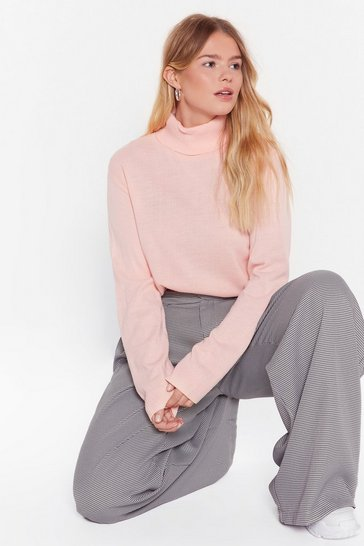 Womens Pale pink On Knit Turtleneck Sweater