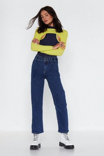 Womens Blue Hey Mom Belted Jeans