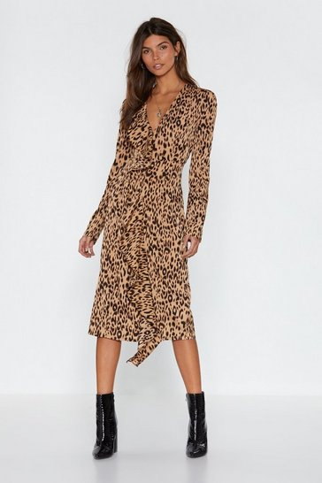 Womens Stone Leopard Meow-ment Ruffle Midi Dress