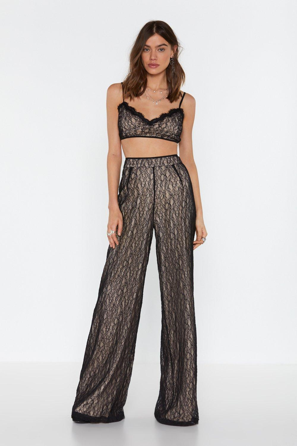 Pick Up The Lace Wide Leg Trousers by Nasty Gal