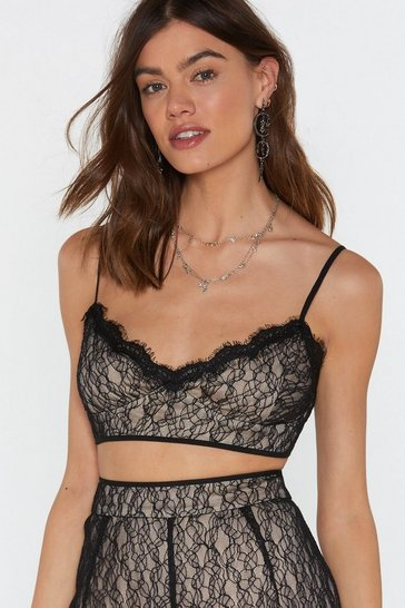 Womens Black Pick Up the Lace Bra Top