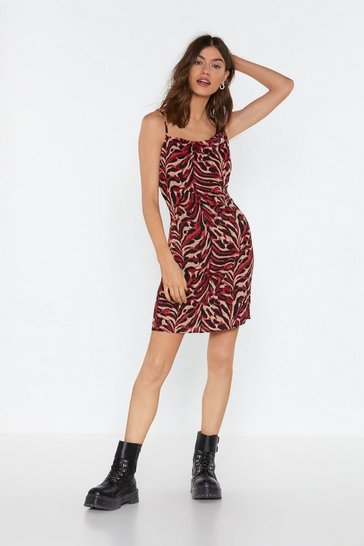 Womens Red Tiger Print Mini Dress