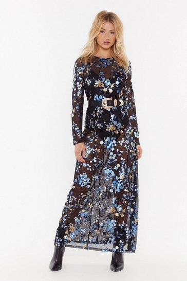 Womens Black I'm a Wild One Floral Maxi Dress