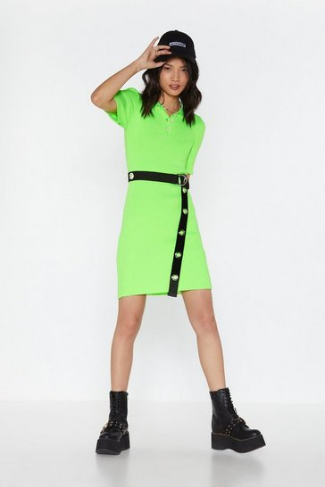 Womens Neon-lime Steal the Limelight Polo Shirt Dress