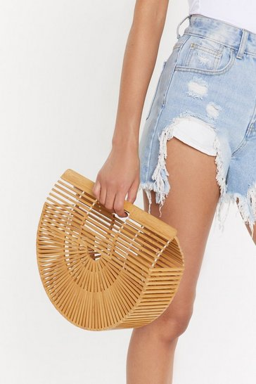 Natural WANT Just Hold On Wooden Clutch Bag