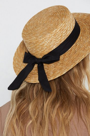 Womens Natural Straw Play Bow Hat