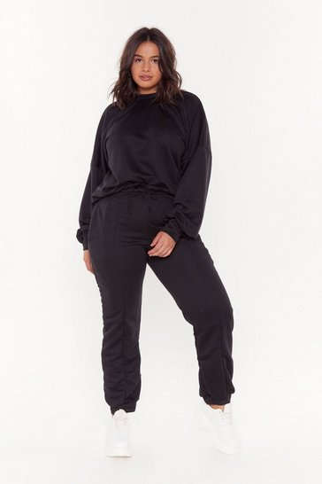 Womens Black Love You Jumper and Joggers Set