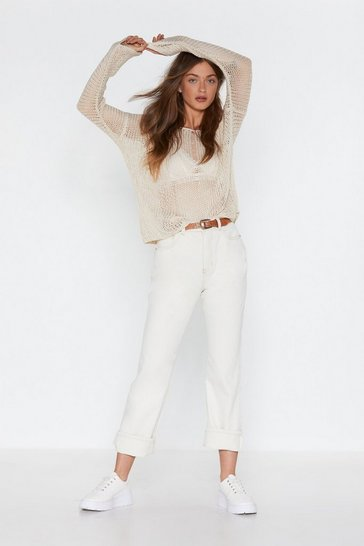 Womens White Straight Down to It High-Waisted Jeans