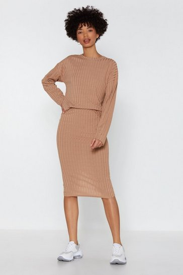 Womens Camel You and I Ribbed Sweater and Skirt Set