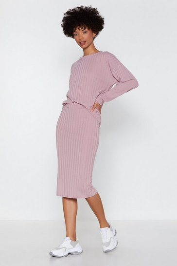 Womens Mauve You and I Ribbed Sweater and Skirt Set