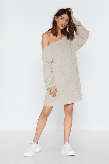 Womens Stone Shrug 'Em Off One Shoulder Sweater Dress