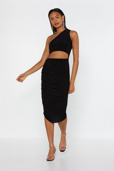 Black Angel on My Shoulder Cut-Out Midi Dress