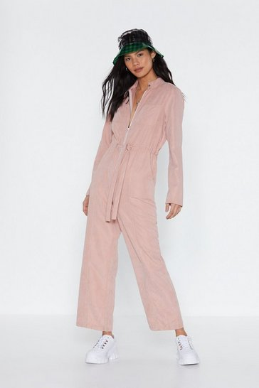 Womens Blush Zip Front Boilersuit