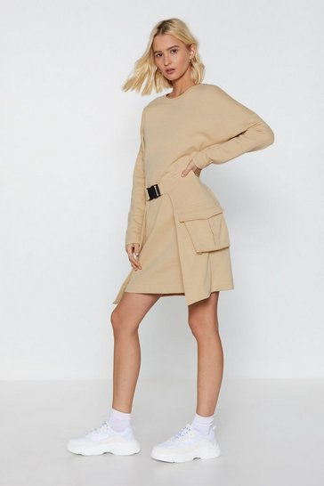 Womens Camel Get Your Act Together Belted Sweatshirt Dress