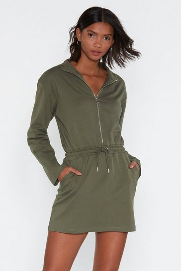 Womens Khaki Zip 'Em into Shape Drawstring Dress