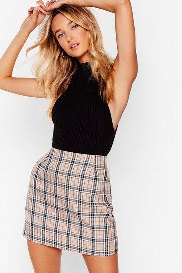 Beige Check in Sometime Plaid Mini Skirt