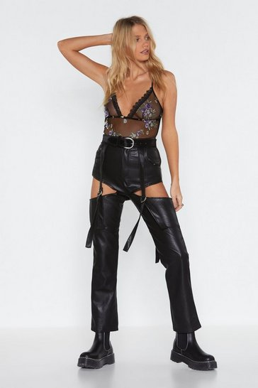 Womens Black Cut-Out Of My Way Faux Leather Pants