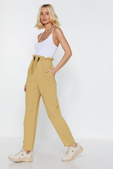 Womens Sand Pull of Love Paperbag Tapered Trousers