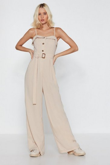 Womens Ecru Button Front Wide Leg Jumpsuit