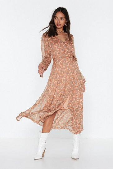 Womens Nude Midi Wrap Dress Part Lined With Ruffle