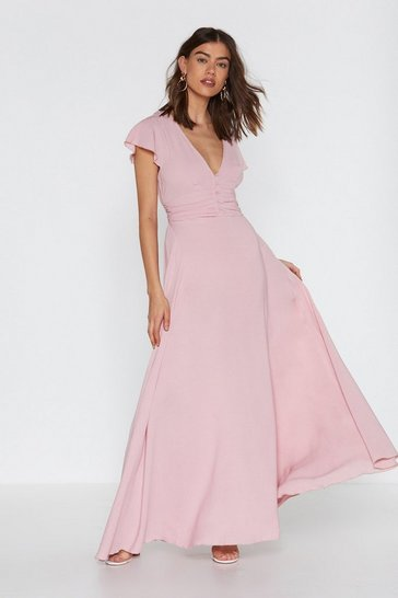 Womens Pink Who's That Girl V-neckline Maxi Dress