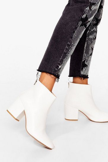 Womens White Stand By Me Faux Leather Ankle Boots