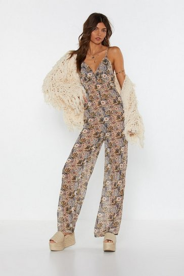 Womens Nude Floral Low Back Jumpsuit