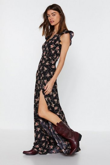 Womens Black Flower Down on Me Maxi Dress