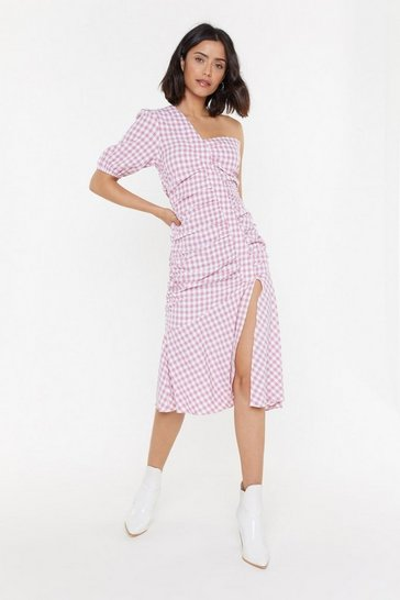Womens Pink Gingham the Goods One Shoulder Midi Dress