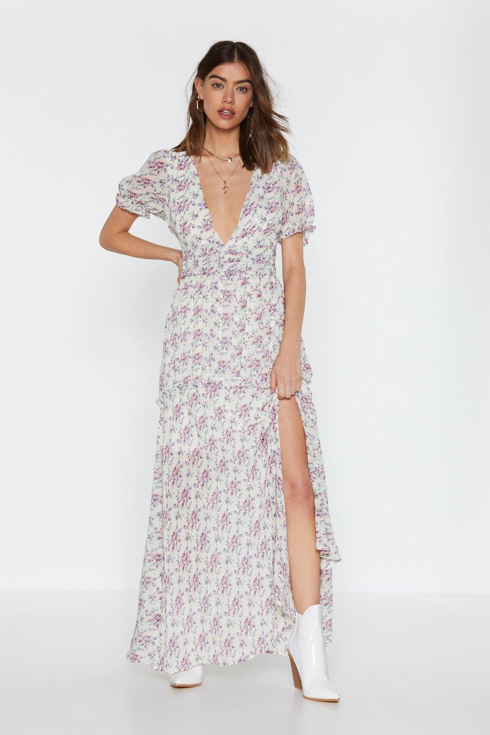 Flower to the People Puff Sleeve Maxi Dress   Nasty Gal