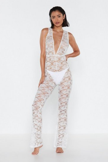 Womens White Life's a Beach Lace Plunging Cover-Up Jumpsuit