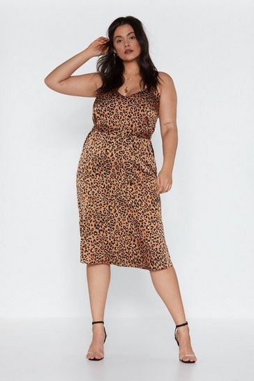 Womens Tan Do Tail Leopard Midi Dress