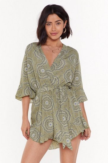 Womens Sage MS Wrap Paisley Playsuit