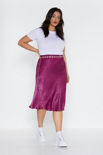 Womens Raspberry Slick All the Boxes Satin Midi Skirt