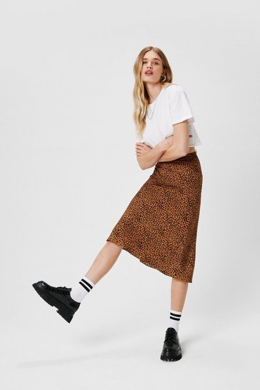 Tan Claw-t in the Act Satin Midi Skirt