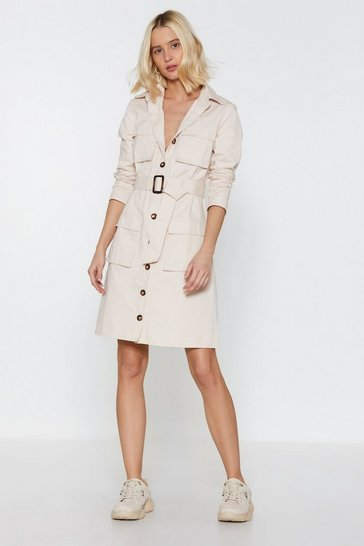 Ecru Pocket This Utility Belted Dress