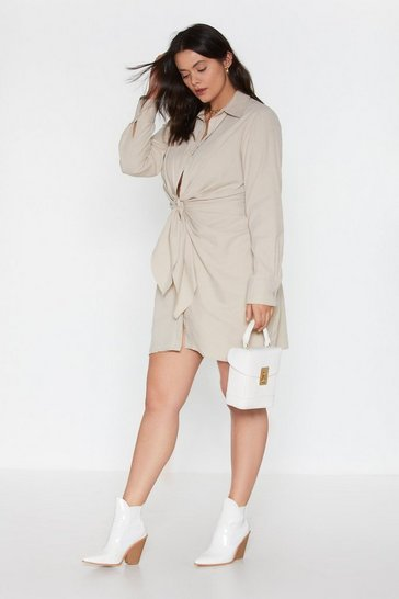 Womens White Knot Detail Ruched Shirt Dress