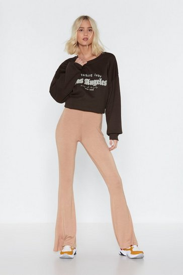 Womens Taupe Flare For You High-Waisted Pants
