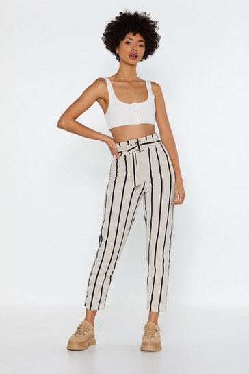 Womens Stone Stripe Up Belted Trousers