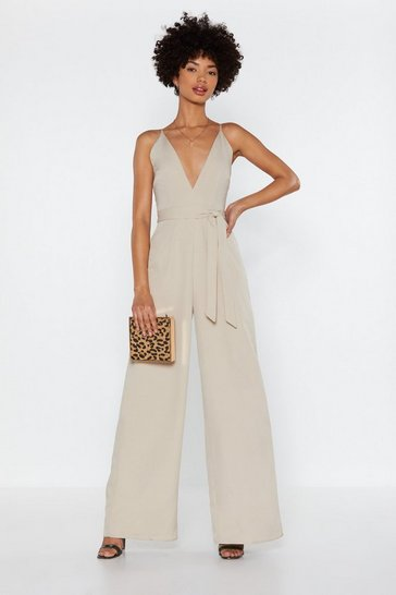 Womens Stone Wide in There V-neck Jumpsuit