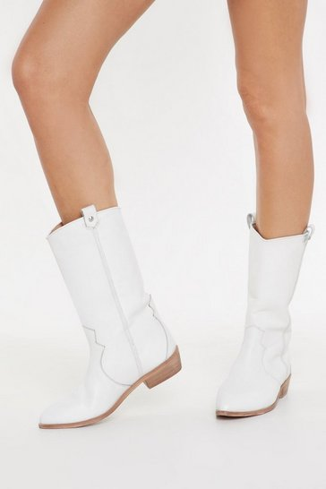 Womens White On My West Behaviour Leather Calf Boots