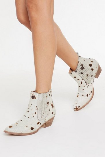 Womens White Cow Does It Feel Ponyhair Boots