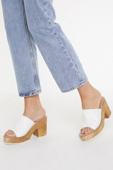 Womens White Cork Platform Mules