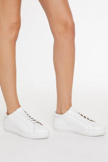 Womens White Leather Lace Up Court Trainers