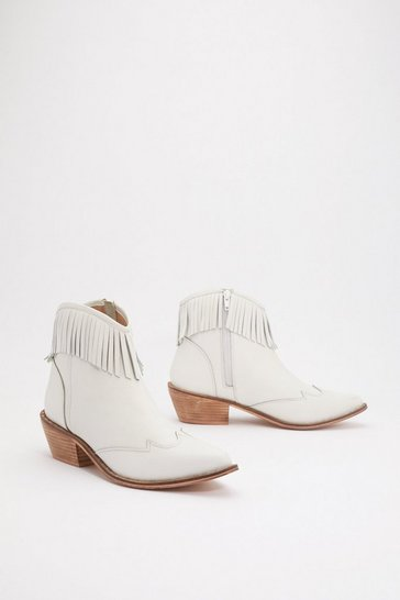 Womens White Put Your West Foot Forward Fringed Western Boots