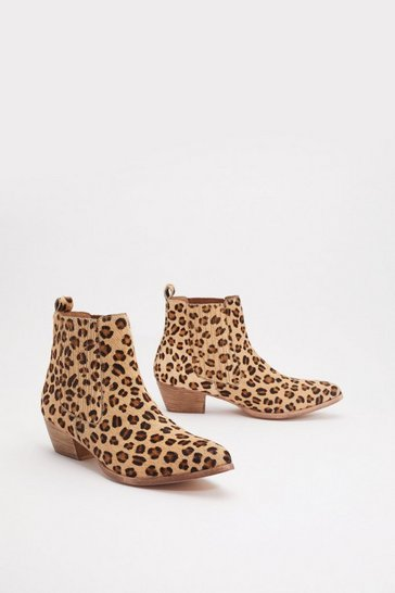 Womens Brown Leopard Pony Skin Chelsea Western Boot