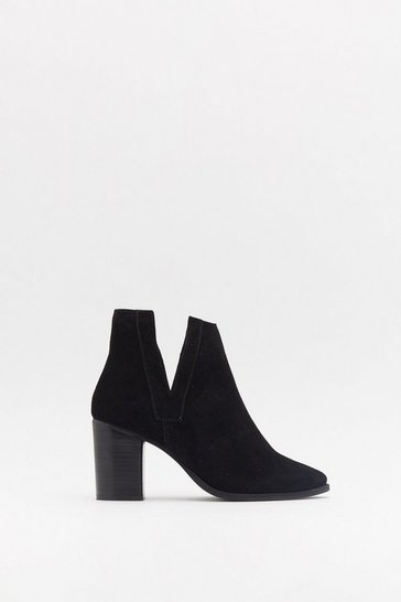 Womens Black V Gusset Cut Out Heeled Suede Boots
