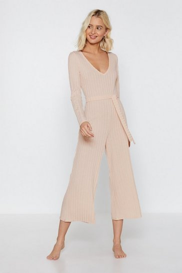 Cream Just Busy RN Ribbed Lounge Jumpsuit