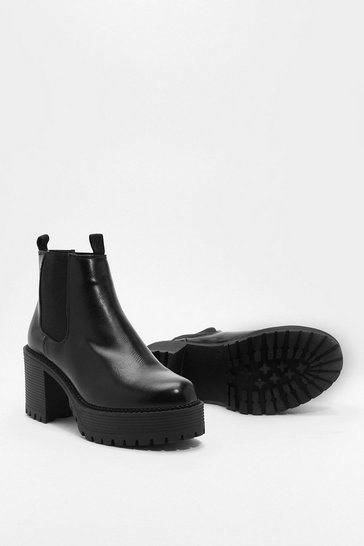 Black High Platform Chelsea Boots with Heel Pull Tab